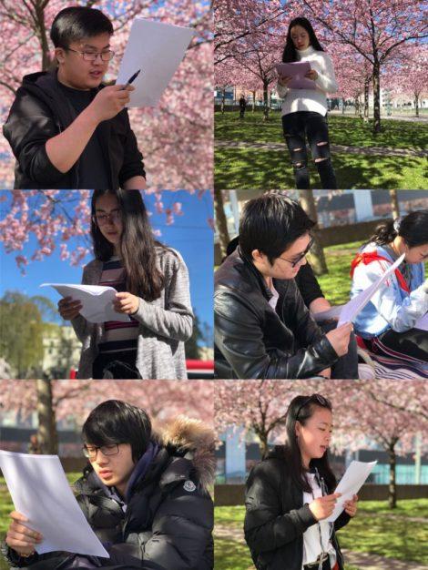 图2 同学们在樱花下认真阅读《春》